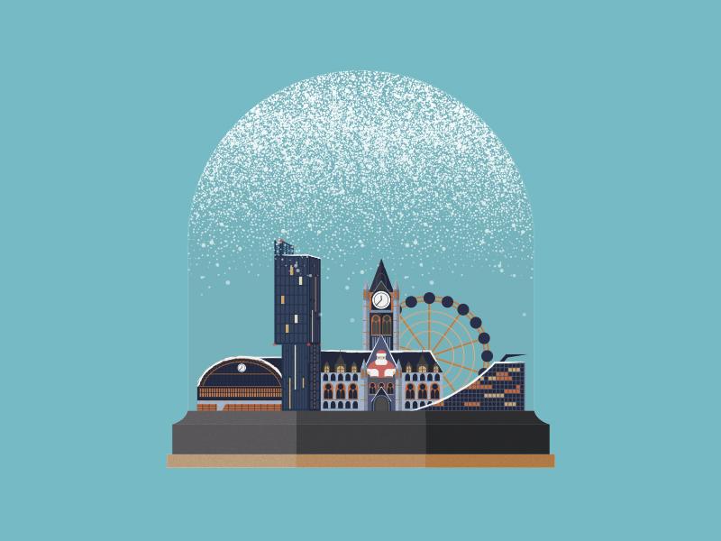 Manchester Snow Globe - Christmas Card Design by Pine Design Studio ...