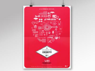 Poster - Chic Commando Radio  concert music pirate radio visual identity poster event