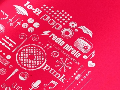 Chic Commando Radio  pictograms pirate radio visual identity music concert event