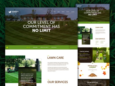Dunners Lawn Care lawn care web design landscaping redesign layout responsive parallax html5 css3 wordpress website hero