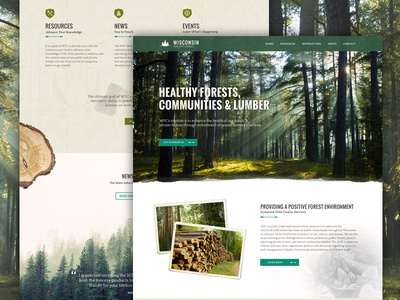 Wisconsin Forestry Council web design trees green design wisconsin wood forest ui website homepage web