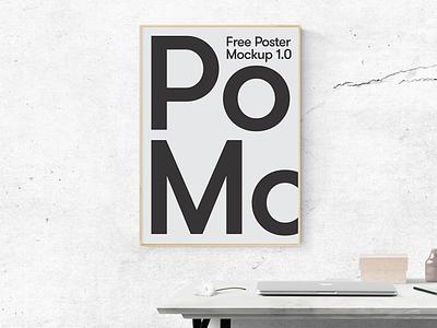 Poster Scene Free Mockup concrete office desk mac design free style artwork mockup minimal poster