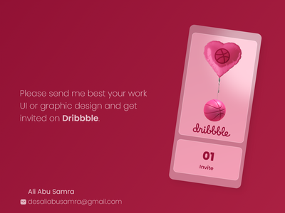 1 Dribbble invitation invitation card invitation invite ux ui design