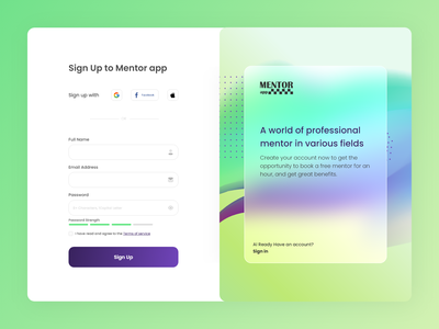 Sign Up to mentor app sign up dailyui training trainer mentor uiuxdesign uiux design sign in signup ux ui