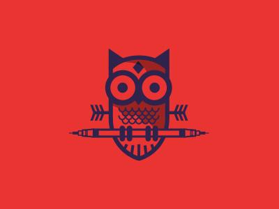 Owl owl pen arrow illustration red eyes diamond rapidograph
