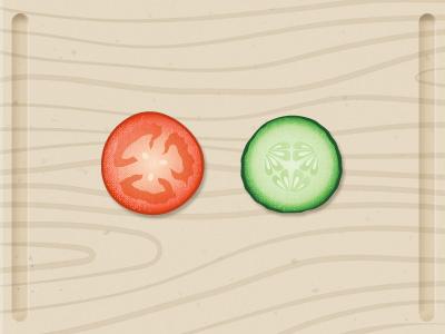 Veggie veggie tomato cucumber wood illustration icon board