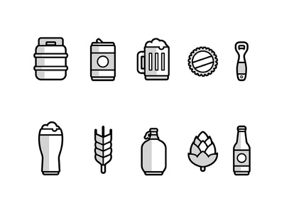 Beer Icons wheat hops bottle glass beer