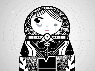 Matryoshka illustration matryoshka vector doll grey
