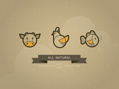 All Natural Icons icon chicken cow fish illustration restaurant icons banner made true illustrator vector