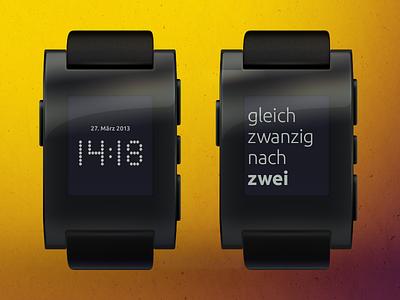 Pebble Fuzzy Clock (german) german pebble fuzzy clock mockup smartwatch