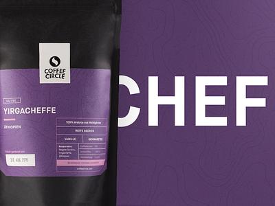 Coffee Circle — Yirgacheffe brand coffee purple packaging