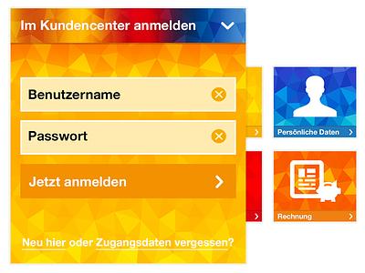 Polygon Login colourful login mobile website