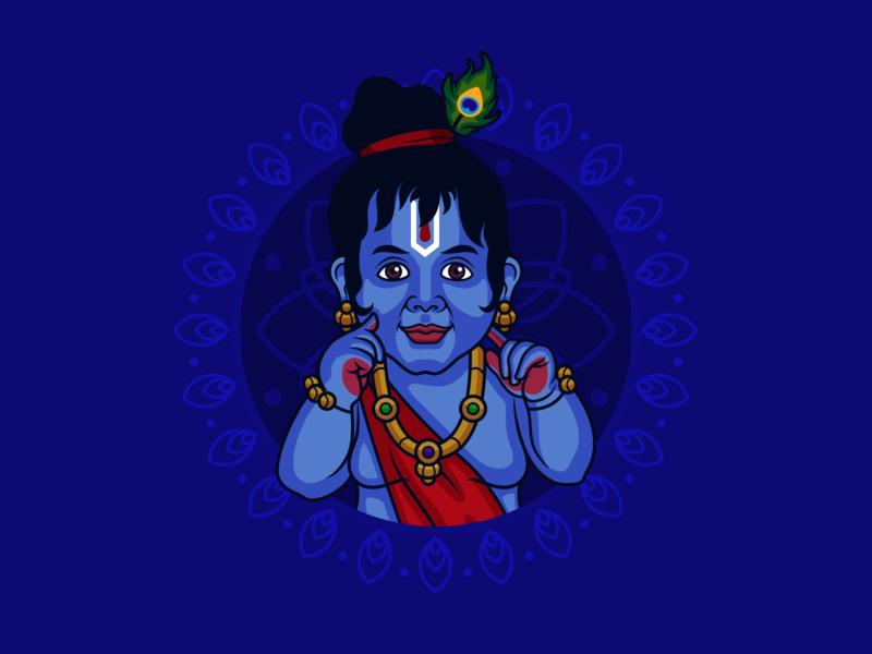 Little Krishna vector art janamashtmi festival india divine sketch avatar illustration god krishna