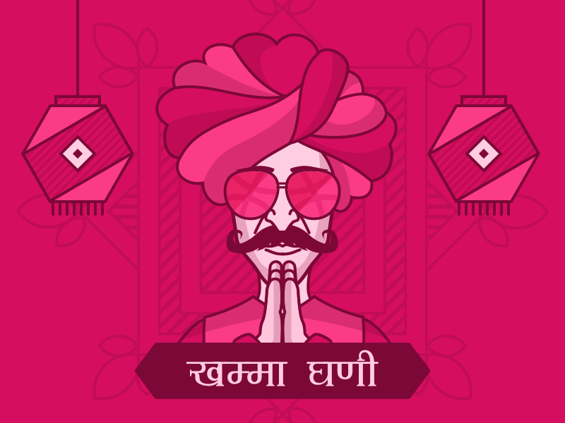Hello Dribbble! mandana vector invite sketchapp traditional rajasthani vintage illustration debut