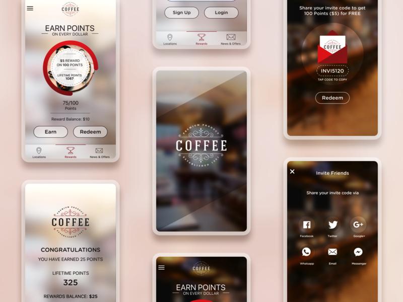Coffee App UI newpost mobiledesign foodapp loyaltyapp android sketch app uid uidesign appdesign