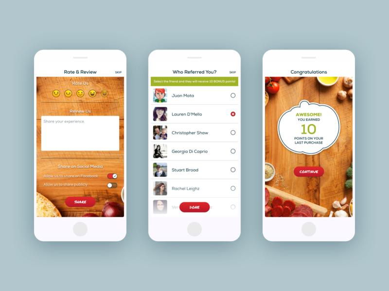 Fazoli Rate & Review social app uiux ui design order food app illustrations invite friends mobile app app design rate review