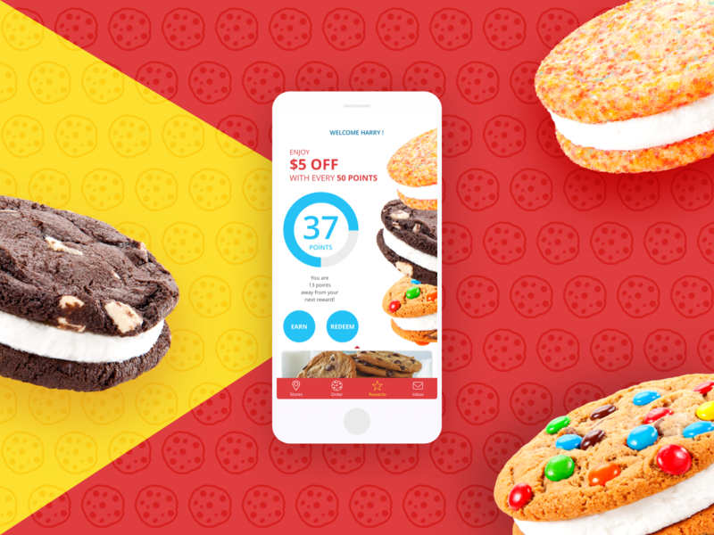 Cookies Rewards loyalty cookies america google apple ios android design mobile app rewards