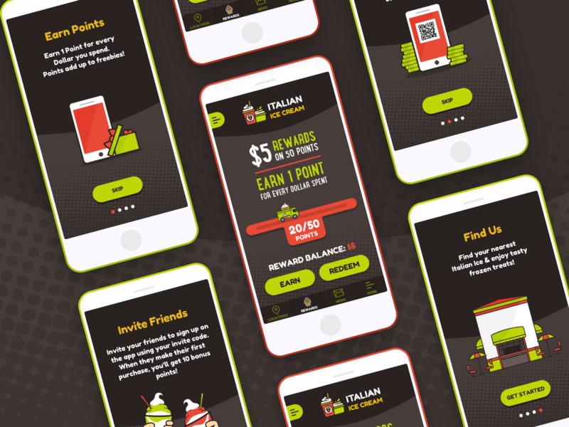 Italian Ice Cream illustrations sketch loyalty app tutorials ui ux dead brands creative app designer mobile app design ice cream app