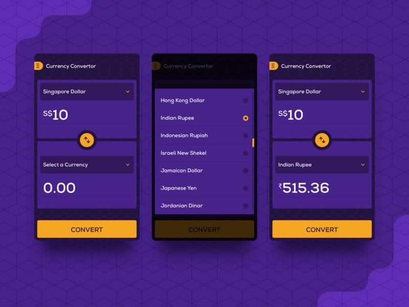 Currency Converter portfolio flat ui rupee dollar sketch app currency converter app design ui ux design android mobile app design mobile app