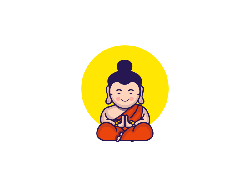 Buddham Sharnam Gachchami buddhism japan sun orange flat  design icon sketch app drawing illustration buddha
