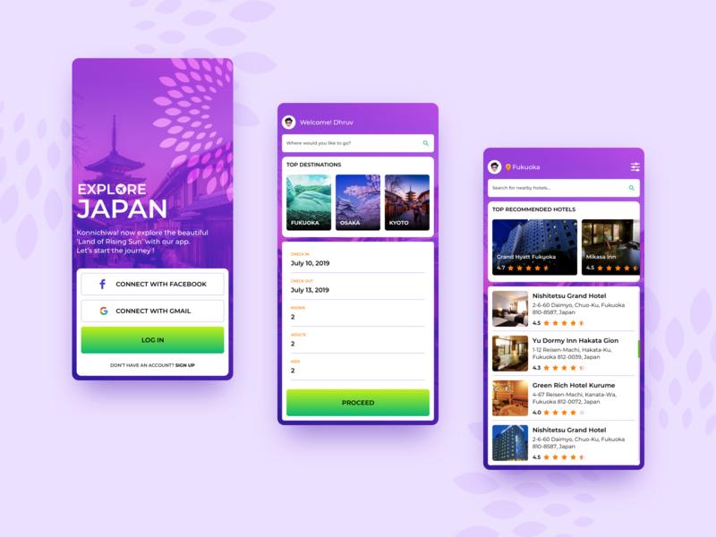 Travel App dribbble travel app hotel app japan interface design uiux design illustration sketch app