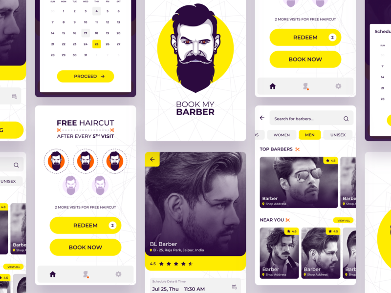 Book My Barber App illustration loyalty program barber sketchapp creative mobile appdesign uidesign iosapp androidapp