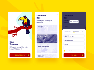 Save Toucan charity app illustration wildlife toucan sketch app ui ux design android ios payment mobile app