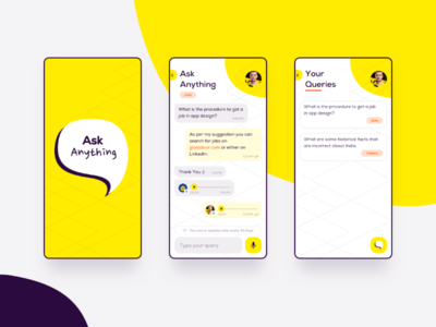 Ask Anything App quora chat app design yellow creative ios android sketch app product design ui design mobile app