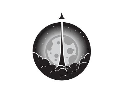 Moon and Rocket shuttle rocket ship moon space