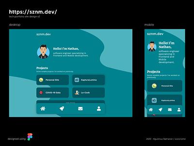 sznm.dev tech portfolio site design minimal web design ui figma figmadesign personal project personal site