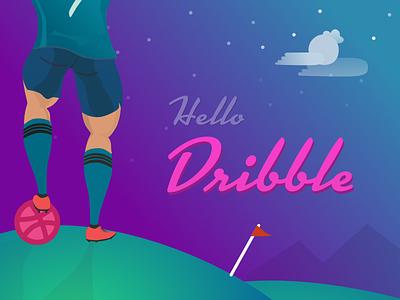 Hello Dribbble - A tribute to CR7 ronaldo football illustration hello first shot debut