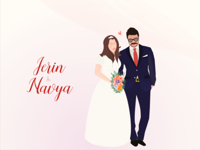 Wedding illustration bride and groom