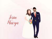 Wedding illustration bride and groom