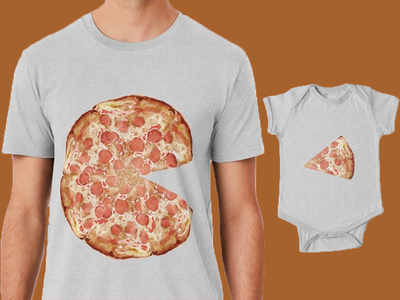 Unisex Adult  & Baby Pizza T-Shirt