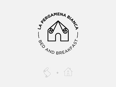 La Pergamena Bianca parchment scroll white bb design graphic concept mark logo