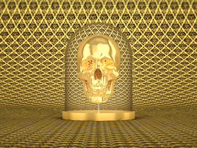 On Display victorian modeling wallpaper still life gold c4d cinema4d skull lighting studio illustration 3d