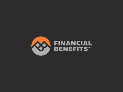 Financial Benefits Brand Identity identity charcoal negative space mountain orange sans-serif wordmark monogram typography logo branding