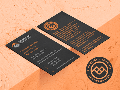 Financial Benefits Accompanying Logo Seal & Business Card stamp rugged rustic branding mockup orange identity logo monogram seal stationery business card