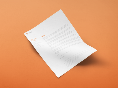 Financial Benefits Letterhead brand identity typesetting mockup typography identity branding orange stationery letterhead letter