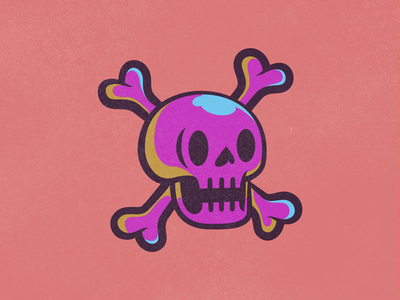 Skully Crossbones retro crossbones bold skull illustration