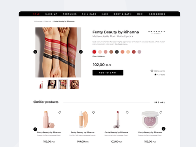 E commerce Product Page sephora webdesign typography product design ux e-commerce website ui e-commerce design e-commerce