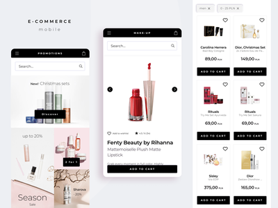 E commerce mobile category product page shop ecommerce products promotions add to cart mobile ui mobile ux typography e-commerce app ui design