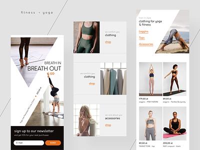 Yoga e-commerce mobile website photos web app ux ui yoga app shop clothing sport e-commerce web design mobile fitness yoga rwd