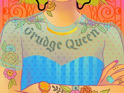 Grudge Queen fashion illustration tattoos flowers ipad pro procreateapp portrait design digital illustration illustration