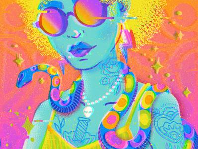 Snake Girl photoshop glitch effect psychedelic rainbow ipad pro fashion illustration design procreateapp digital illustration