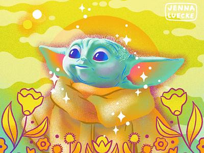 Baby Yoda yoda baby yoda star wars procreateapp ipad pro design flowers digital illustration illustration