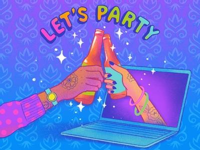 Let Party! (Social Distancing Style) party video chat covid19 quarantine design ipad pro procreateapp illustration digital illustration