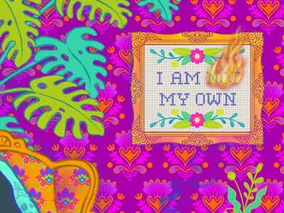 I Am My Own plants rainbow fashion illustration lettering floral pattern ipad pro procreateapp illustration design digital illustration pattern