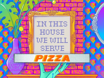In This House We Will Serve PIZZA embroidery frame home pizza pattern design pattern rainbow fashion illustration procreateapp illustration digital illustration