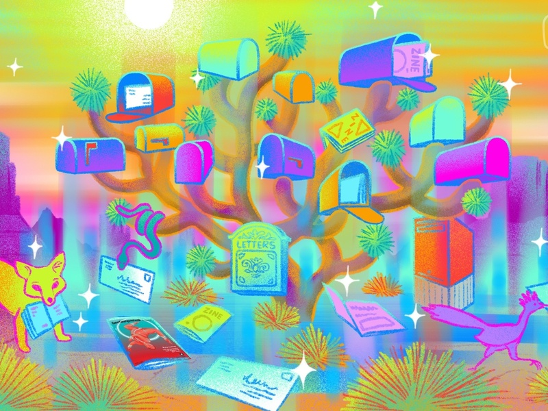 Mail Mirage editorial illustration procreateapp design trees psychedelic mail desert textures illustration digital illustration